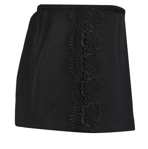 BLACK SATIN AND VENICE LACE TRIM SHORTS