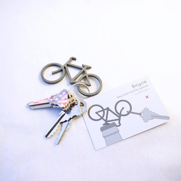 Bicycle keychain bottle opener