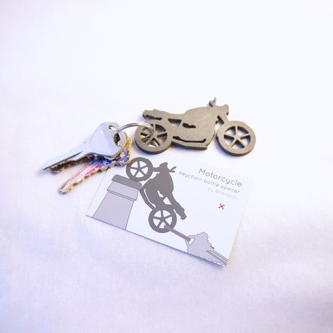 Motorcycle keychain bottle opener