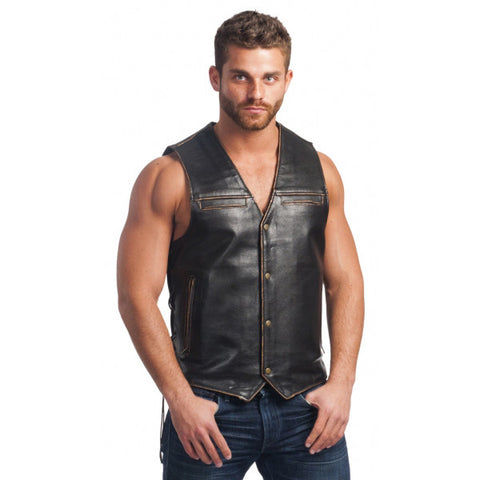 Unik Leather Vintage Motorcycle Vest