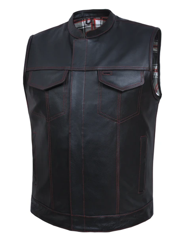 Men's Leather Club Vest Flannel Liner