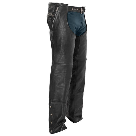 Wind Walker Unisex Leather Chaps With Gator Skin Snapout Liner