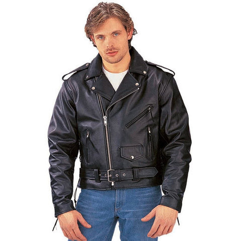 Men's Basic Leather Motorcycle Jacket