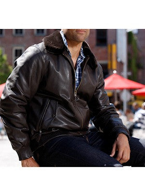 Whet Blu Men's Leather Bomber Jacket