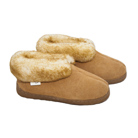 Women's Hardsole Sheepskin Booties Slippers