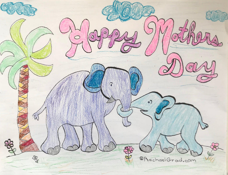 Happy Mother's Day Colouring Card with Mom & Baby Elephants