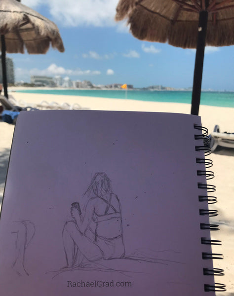 Sketches & Pencil Drawings on the Beach at Club MED Cancún Yucatan Mexico