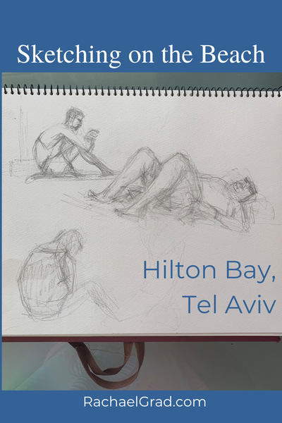 Sketchbook Drawing on the Beach in Tel Aviv, Israel