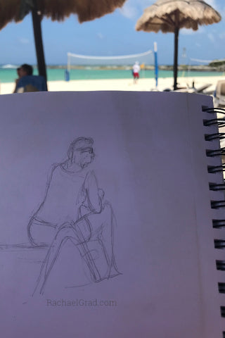 Inspiration from Mexico drawing of woman on the beach by Rachael Grad