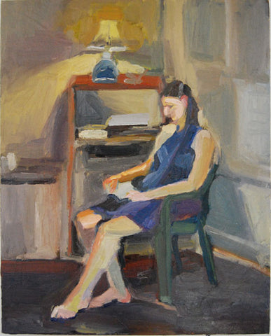 woman reading original oil painting on canvas by artist Rachael Grad