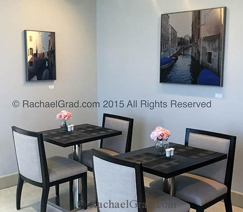 Charity Art Prints by Rachael Grad in the dining area of eforea: spa at Hilton, 2015