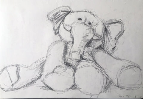 "Toy Elephant Drawing February 18 Pencil on Paper, 9"" x 12"", 2015"