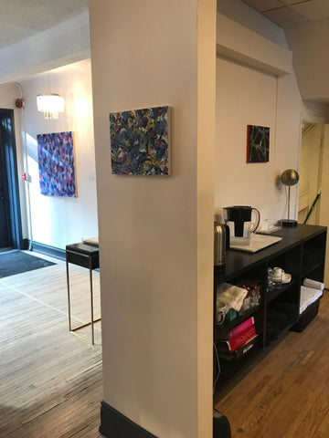 2019-03-22 blog original abstract paintings by rachael grad artist on view at peter paul and company yorkville toronto winter 2019 black geometric paintings dots art on view