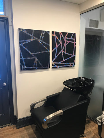 2019-03-22 blog original abstract paintings by rachael grad artist on view at peter paul and company yorkville toronto winter 2019 black geometric paintings