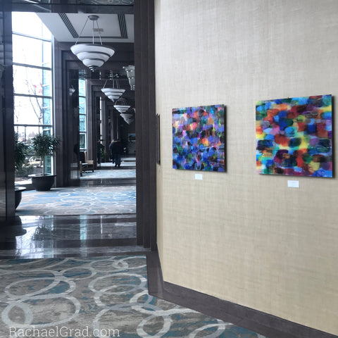 2019-04-08 Colorful Abstract Art Prints on View at the Hilton Toronto/Markham Suites by artist rachael grad april 2019 2 dot prints hotel corridor