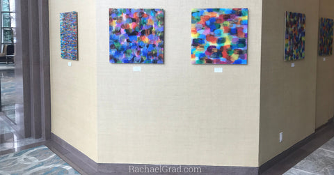 2019-04-08 Colorful Abstract Art Prints on View at the Hilton Toronto/Markham Suites by artist rachael grad april 2019 5 prints