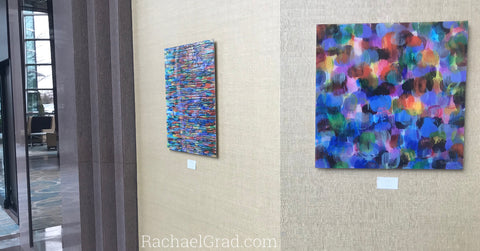 2019-04-08 Colorful Abstract Art Prints on View at the Hilton Toronto/Markham Suites by artist rachael grad april 2019 fluid series dot multicolor