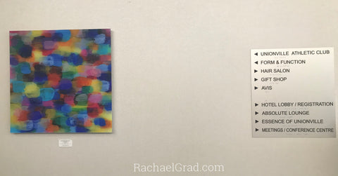 2019-04-08 Colorful Abstract Art Prints on View at the Hilton Toronto/Markham Suites by artist rachael grad april 2019 hotel sign unionville