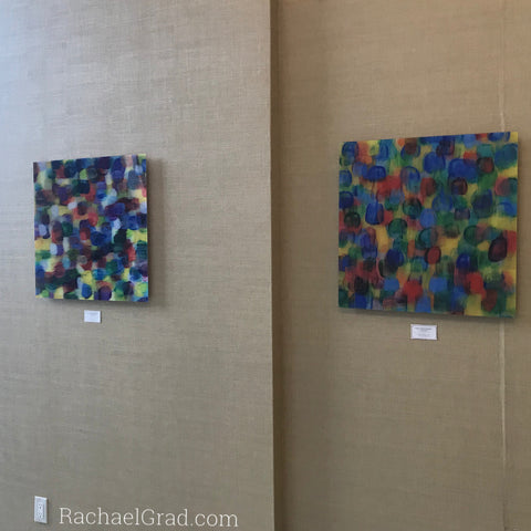 2019-04-08 Colorful Abstract Art Prints on View at the Hilton Toronto/Markham Suites by artist rachael grad april 2019 multicolor brushstroke prints