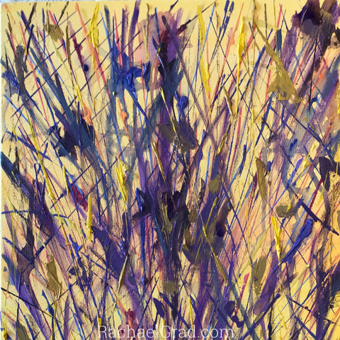 2019-04-10 Spring Inspired Colorful Abstract Flower Paintings rachael grad art 2019 yellow purple closeup 1