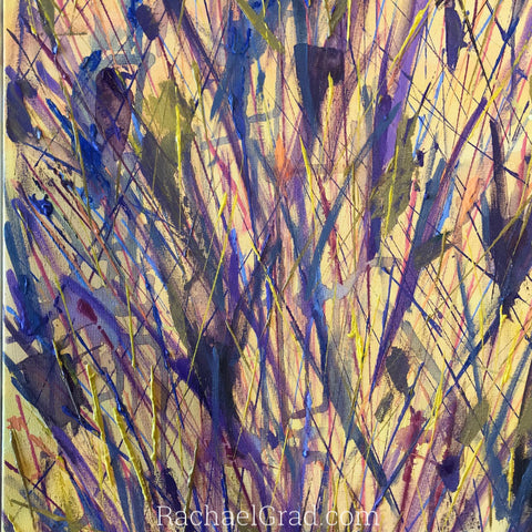 2019-04-10 Spring Inspired Colorful Abstract Flower Paintings rachael grad art 2019 yellow purple closeup 2