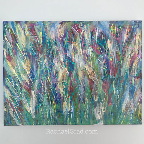 Abstract Flower Multicolor Painting by artist Rachael Grad colorful art