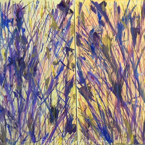 2019-04-10 Spring Inspired Colorful Abstract Flower Paintings rachael grad art 2019 yellow purple 2 canvases