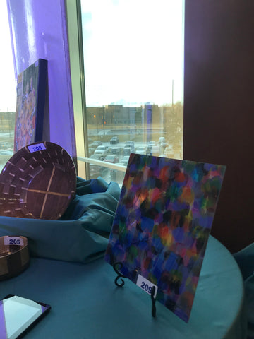 2019 Markham Stouffville Hospital Gala art print dot series by artist rachael grad on the auction table