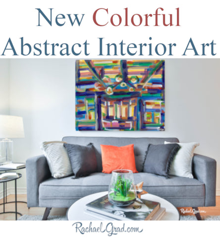 new colorful abstract interior art painting prints by artist rachael grad