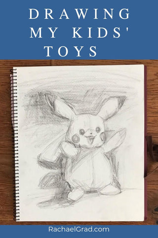 Drawing my Kid's Pikachu Pokemon Toy by Artist Rachael Grad Pencil on Paper Sketchbook