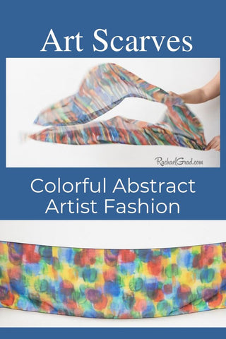 Art Scarves Colorful Abstract Artist Fashion Scarves by Artist Rachael Grad