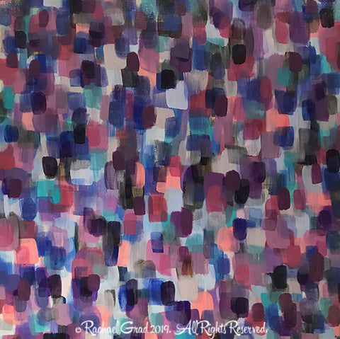 Dot S Large Purple and Blue 1 Acrylic on Cradled Wood Panel 36 x 36 x 1 in Rachael Grad painting artwork