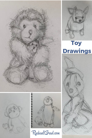 Toy Drawing Collage of original sketches by Artist Rachael Grad