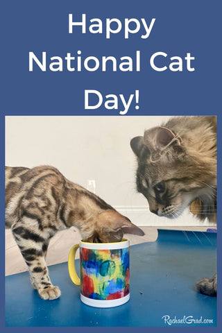 Happy National Cat Day Cats and Abstract Art Mug by Toronto Artist Rachael Grad