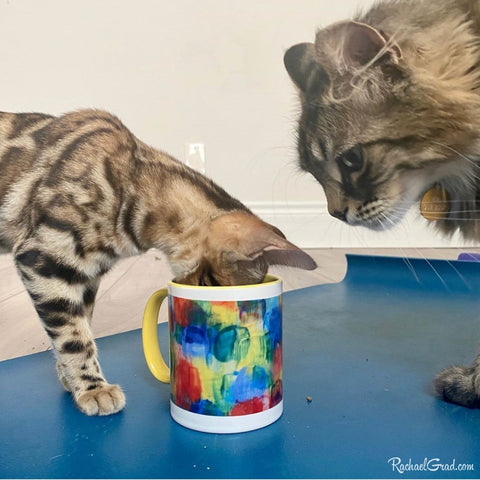 cats with abstract art mug by artist Rachael Grad