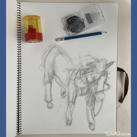 pencil sketch with art materials by Artist Rachael Grad