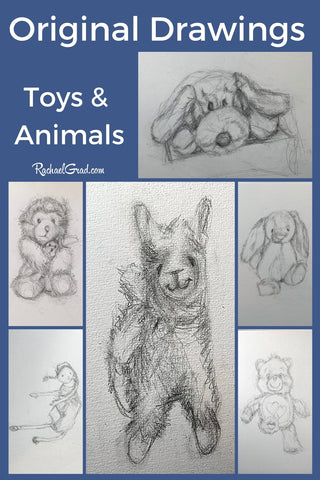 original drawings of toys and stuffed animals by Toronto Artist Rachael Grad