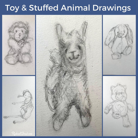 toy and stuffed animal drawings by Toronto Artist Rachael Grad
