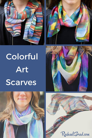 Colorful Art Scarves by Canadian Artist Rachael Grad