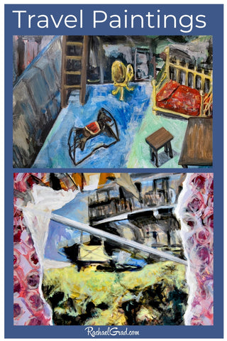 Travel paintings made at home in Toronto by Canadian Artist Rachael Grad