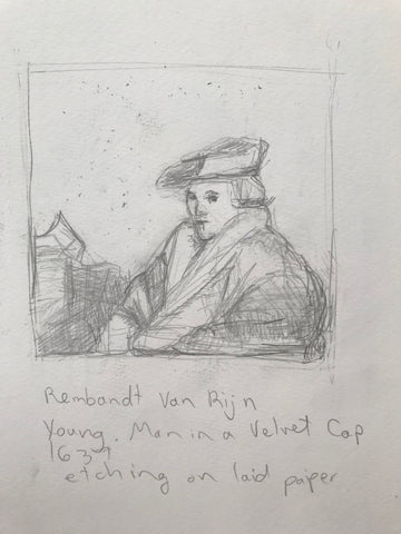 Drawing by Artist Rachael Grad of old master Rembrandt van Rijn Young Man in a Velvet Cap