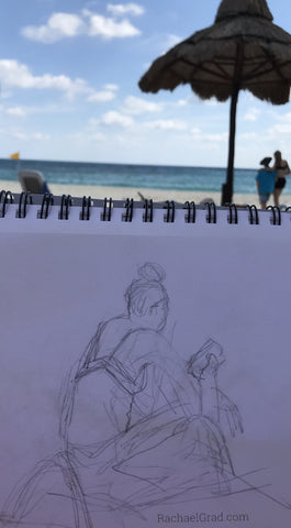 Sketches on the beach pencil gesture drawings by Artist Rachael Grad