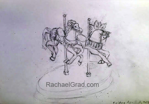 "Two Toy Horses March 29, Pencil on Paper Drawing, 9"" x 12"", 2015 Rachael Grad Fine Art"