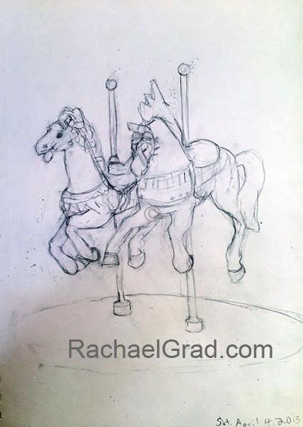 Two Toy Horses April 4, Pencil on Paper Drawing, 9″ x 12″, 2015