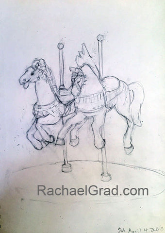"Two Toy Horses, Pencil on Paper Drwing, 9"" x 12"", 2015 Rachael Grad Fine art"
