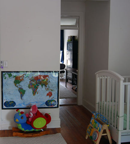 Kids Room wall map and crib decor Rachael Grad Fine Art Photography