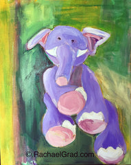 "Toy Elephant Medium 3 (Green), Acrylic on Canvas, 16"" x 20"", 2015 Rachael Grad Art"