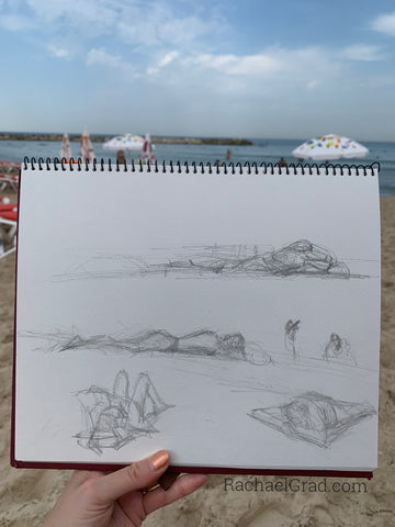 Pencil drawing on the beach by Toronto Artist Rachael Grad