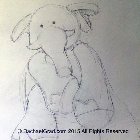 Toy Elephant May 2015, Pencil on Paper Drawing, 9″ x 12″, 2015 rachael grad art