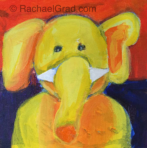 "Primary Colour Elephant Painting, Acrylic on Board, 3"" x 3"", 2015. Rachael Grad Fine Art"